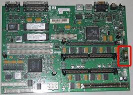 Risc PC Mainboard / Motherboard showing CMOS Battery location.